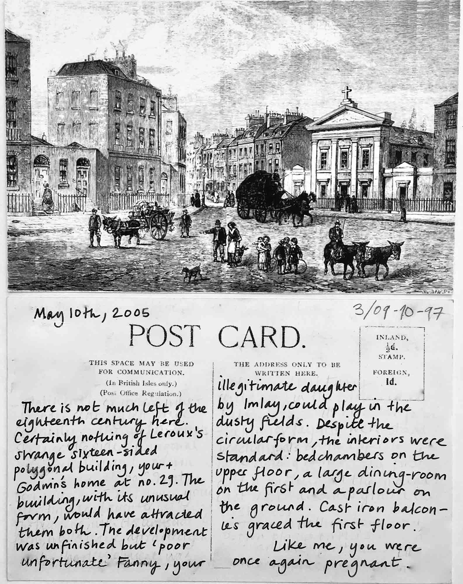 Postcard 3. The Polygon, Somers Town, 1850. Public Domain. Postcard and text by Emma Cheatle, 2016.