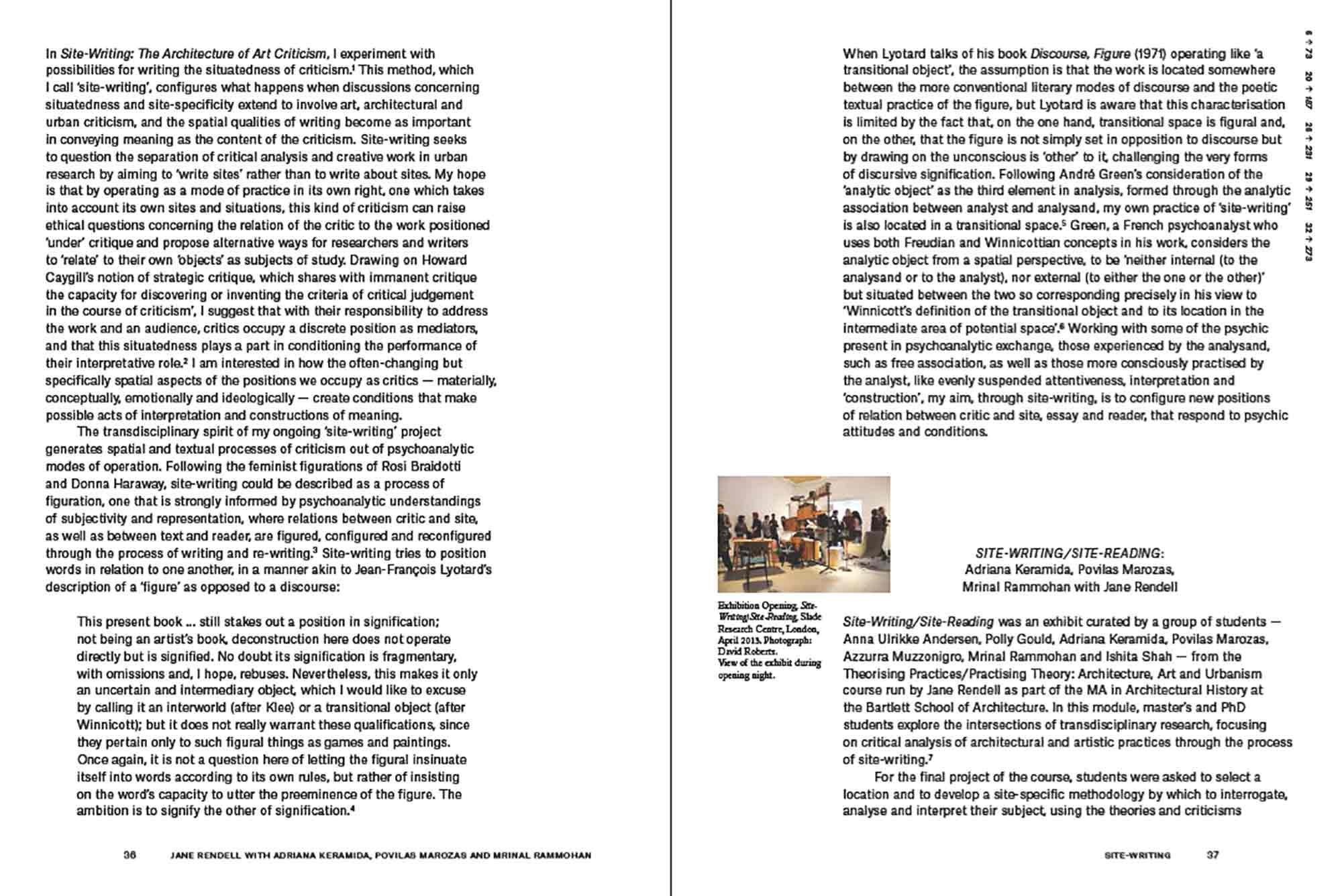 Site-Writing/Site Reading, Engaged Urbanism (36-37)