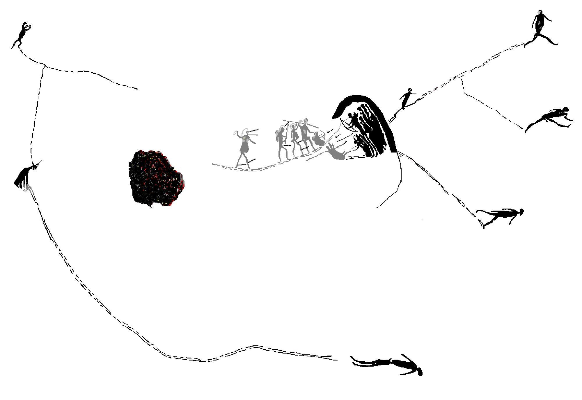 """Veg en Vlug"", trace drawing. Courtesy of Peter Slingsby."