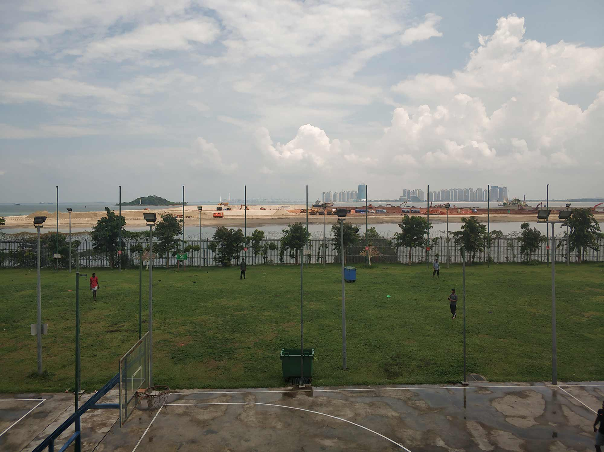 Tuas View migrant worker dormitory and adjacent reclamation, 2019. Photograph: William Jamieson.